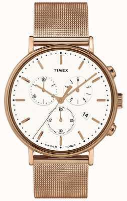 Timex | fairfield chrono witte wijzerplaat | geval van rose goudkleur TW2T37200D7PF