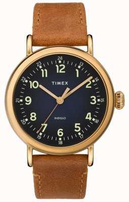 Timex | leren riem herenbruin | blauwe wijzerplaat | TW2T20000D7PF