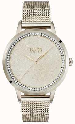 BOSS | dames lichtroze gouden mesh armband | 1502464