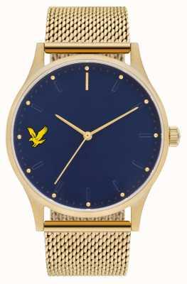 Lyle & Scott Mens hoop se goud pvd plated stalen gaas armband blauwe wijzerplaat LS-6013-44