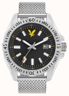 Lyle & Scott Heren tactische roestvrijstalen mesh armband zwarte wijzerplaat LS-6017-11