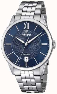 Festina | heren armband in edelstaal | blauwe wijzerplaat | F20425/2