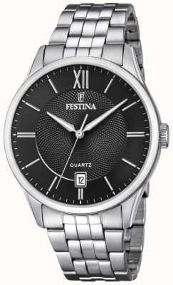 Festina   heren armband in edelstaal   zwarte wijzerplaat   F20425/3