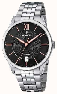 Festina   heren armband in edelstaal   zwart / rose dial   F20425/6