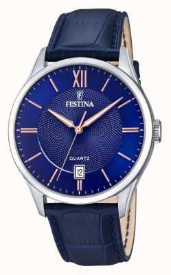 Festina   heren roestvrij staal   blauwe / rose wijzerplaat   blueleather   F20426/5