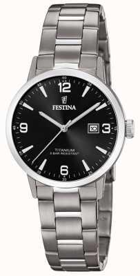 Festina | titanium dameshorloge | zwarte wijzerplaat | titanium armband | F20436/3
