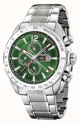 Festina | herenchronograaf & dubbele tijd | groene wijzerplaat | stalen armband F20439/3