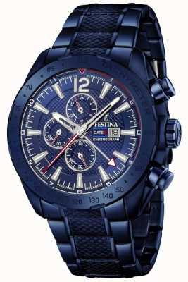 Festina | heren blauw vergulde chronograaf | roestvrijstalen armband | F20442/1