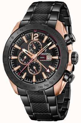 Festina   mens blackrose plated chronograaf   stalen armband   F20481/1