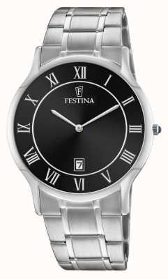 Festina   heren roestvrij staal   zwarte wijzerplaat   stalen armband   F6867/3