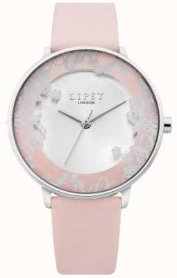 Lipsy | roze lederen band voor dames | zilveren sunray-wijzerplaat LP658