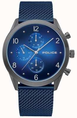 Police | heren pistoolkoffer blauw multi-wijzerplaat | blauwe mesh armband | 15922JSU/03MMBL