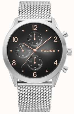 Police | heren zilveren mesh band zwarte multi-dial | 15922JS/02MM