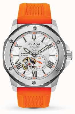 Bulova   heren   mariene ster   automatisch   oranje rubberen band   98A226