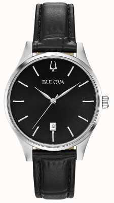 Bulova Datumweergave in zwart leder voor dames 96M147