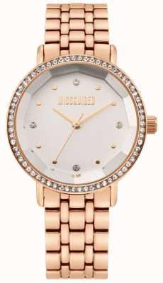 Missguided | dames rosé gouden edelstalen armband | witte wijzerplaat | MG021RGM