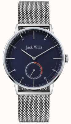 Jack Wills | mens batson ii | stalen mesh armband | blauwe wijzerplaat | JW002BLMH