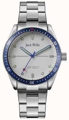 Jack Wills | mens mill bay | roestvrijstalen armband | zilveren wijzerplaat | JW015SLSL