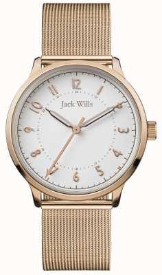 Jack Wills | vrouwen knowle | rose goud mesh | witte wijzerplaat | JW017WHRS