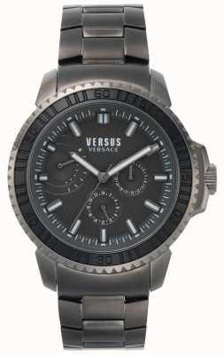Versus Versace | mens aberdeen | zwarte wijzerplaat | grijze roestvrijstalen armband VSPLO0819