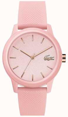 Lacoste | womens 12-12 | roze siliconen armband | roze wijzerplaat | 2001065