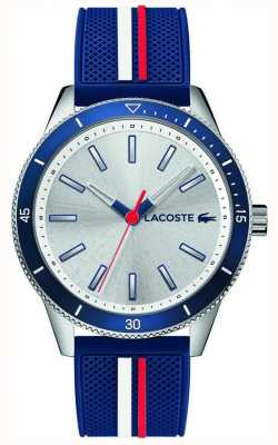 Lacoste | mens key west | blauwe siliconen band | zilveren wijzerplaat | 2011006