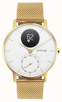 Withings Steel hr 36mm limited edition gold milanese (+ rubberen band) HWA03B-36WHT-GOLD-MESH GOLD-ALL-INT