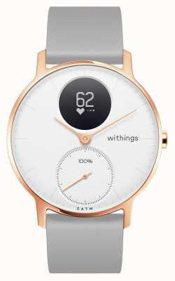 Withings Stalen hr 36mm roségouden witte wijzerplaat grijze siliconen polsband HWA03B-36WHITE-RG-S.GREY-ALL-INTER