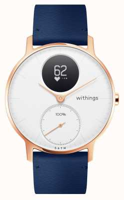 Withings Staal uur 36 mm rosé goud blauw leer (+ grijze siliconen riem) HWA03B-36WHITE-RG-L.BLUE-ALL-INTER