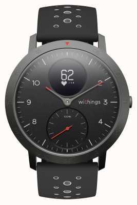 Withings Stalen hr sport 40 mm zwarte wijzerplaat zwarte siliconen band HWA03B-40BLACK-SPORT-ALL-INTER