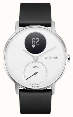 Withings Stalen hr 36mm witte wijzerplaat zwarte siliconen band HWA03B-36WHITE-ALL-INTER