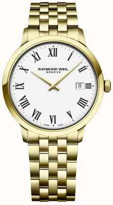 Raymond Weil | mens toccata | gouden armband in edelstaal | witte wijzerplaat 5485-P-00300