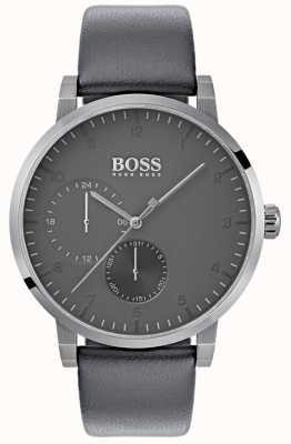 Boss Mens zuurstof grijs lederen band grijze wijzerplaat 1513595