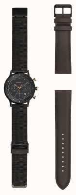 Breil | heren zwart stainlss stalen gaas horloge | verwisselbare riem | TW1808