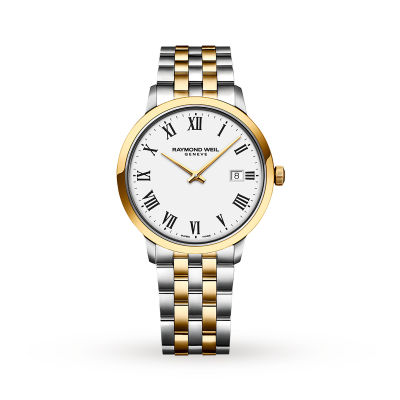 Raymond Weil Heren toccata witte wijzerplaat two tone roestvrij stalen armband 5485-STP-00300