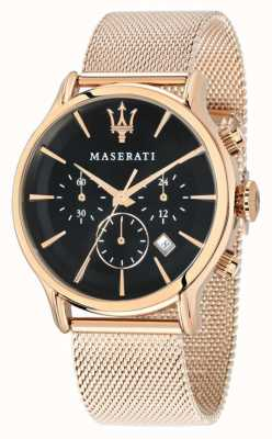 Maserati Epoca chronograaf zwarte wijzerplaat rose goud pvd gaas R8873618005