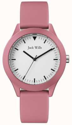 Jack Wills | heren roze rubberen band | witte wijzerplaat | JW009JWPK
