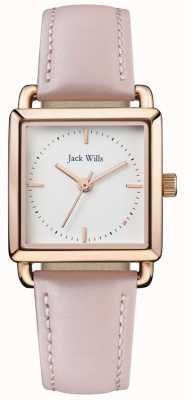 Jack Wills | dames verleidelijke roze leren band | witte wijzerplaat | JW016WHPK