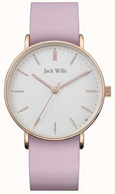 Jack Wills | dames sandhill roze siliconen riem | witte wijzerplaat | JW018WHPK