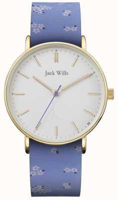 Jack Wills | dames sandhill blauwe siliconen riem | witte wijzerplaat | JW018FLBL