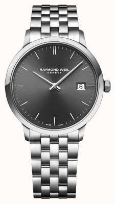 Raymond Weil   heren toccata roestvrij stalen armband   zwarte wijzerplaat   5485-ST-20001