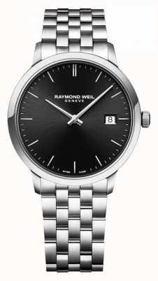 Raymond Weil | heren toccata roestvrij stalen armband | zwarte wijzerplaat | 5485-ST-20001