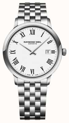 Raymond Weil | heren toccata roestvrij stalen armband | witte wijzerplaat | 5485-ST-00300