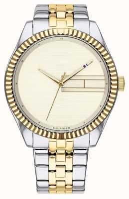 Tommy Hilfiger | tweekleurige roestvrijstalen armband voor dames | champagne wijzerplaat 1782083
