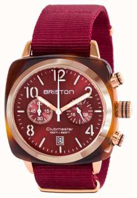 Briston Klassieke clubman acetaat goud rode nato riem 15140.PRA.T.8.NBDX