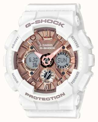 Casio | g-shock wit en rose goud | analoog en digitaal | GMA-S120MF-7A2ER