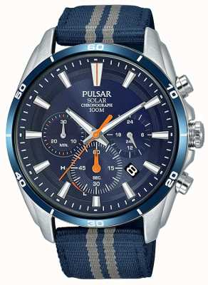Pulsar Heren chronograaf blauwe nylon band blauwe wijzerplaat PZ5089X1