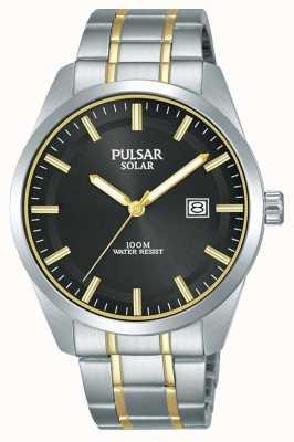 Pulsar Mens zonne | tweekleurige roestvrij stalen armband | zwarte wijzerplaat PX3169X1