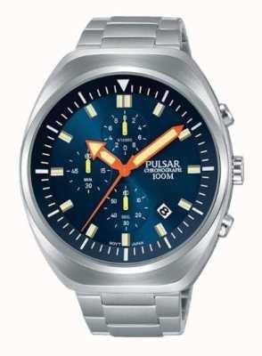 Pulsar Heren chronograaf blauwe wijzerplaat roestvrij stalen armband PM3085X1