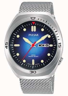 Pulsar Heren blauwe wijzerplaat roestvrij stalen mesh extra lederen band PJ6097X2